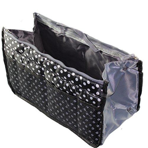 Insert Bag Organizer, Bag in Bag for Handbag Purse Organizer (13 Pockets, Black/White), Large