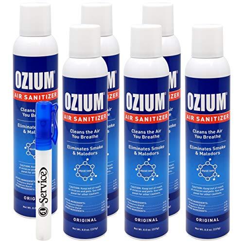 Ozium Air Sanitizer Reduces Airborne Bacteria Eliminates Smoke & Malodors 8oz Spray Air Freshener, Original (6 Pack) Hand Sanitizer -