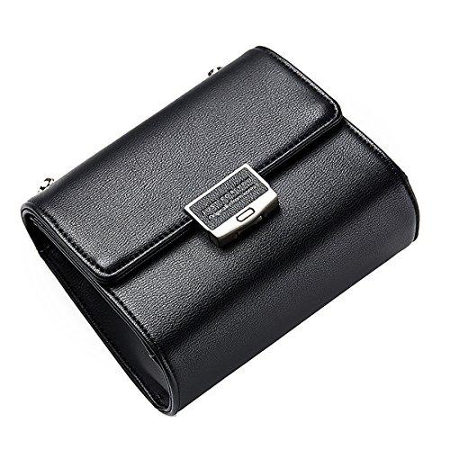 Tisdaini mini bolso del crossbody del hombro del bolso del crossbody de la moda del embrague de la cadena para las muchachas de las mujeres Negro