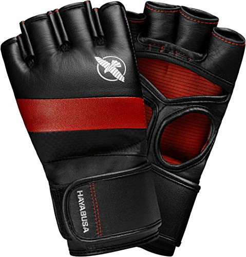 Hayabusa MMA Gloves | T3 MMA Pro Style MMA Gloves | Men and Women | 4oz | Black/Red | Medium