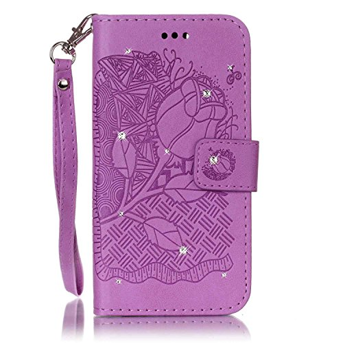 Anzeal Galaxy S6 Case,[Card Slot][Rhinestones][Stand] Magnetic PU Leather Rich Flowers Embossed Wallet Case Folio Flip Case with Strap for Samsung Galaxy S6 [Purple]
