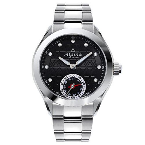 Alpina Horological Smartwatch Black Guilloche Dial Stainless Steel Case Ladies Quartz Watch AL-285BTD3C6B