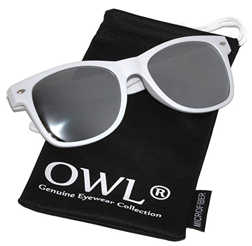 Vintage Sunglasses with Silver Mirror Lens White Frame Uv Protection