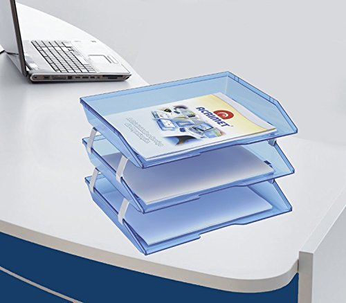 Amazon.com : Acrimet Facility 3 Tiers Triple Letter Tray (Clear Blue Color) : Office Products
