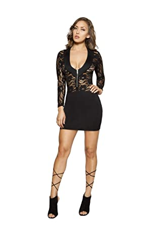 Amazon Roma Costume Sheer Black Lace Mini Dress Black Mini