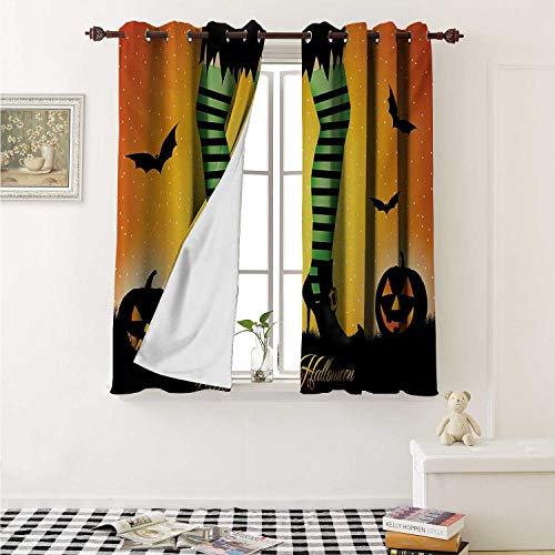 - shenglv Halloween Decorative Curtains for Living Room Cartoon Witch Legs with Striped Leggings Western Concept Bats and Pumpkins Print Curtains Kids Room W72 x L72 Inch Multicolor
