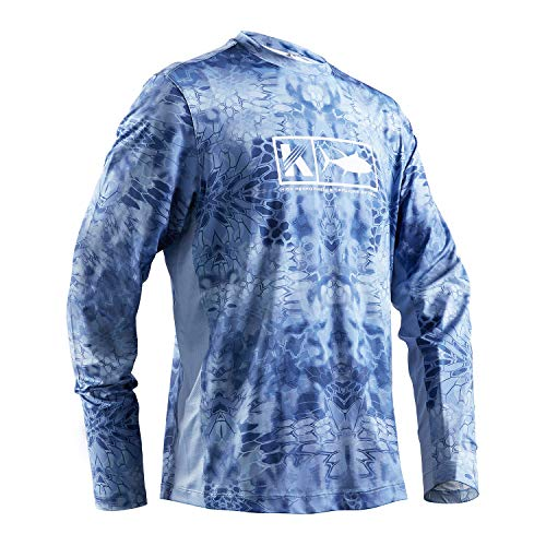Koofin Performance Fishing Shirt Men UPF 50 UV Sun Protection Long Sleeve Quick Dry Mesh Cooling Rash Guard Kryptek Loose Fit Light Blue XX-Large