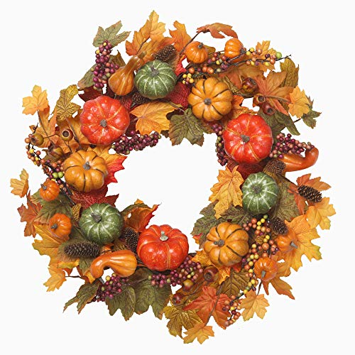 VGIA 22 inch Artificial Fall Wreath Fall Maple Leaves,Pumpkins with Berries