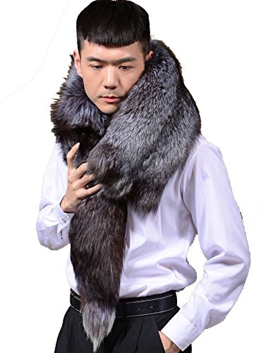 Fosrion Winter Real Whole Silver Fox Fur Warm Scarf Shawl Cape Wrap Vest by Fosrion