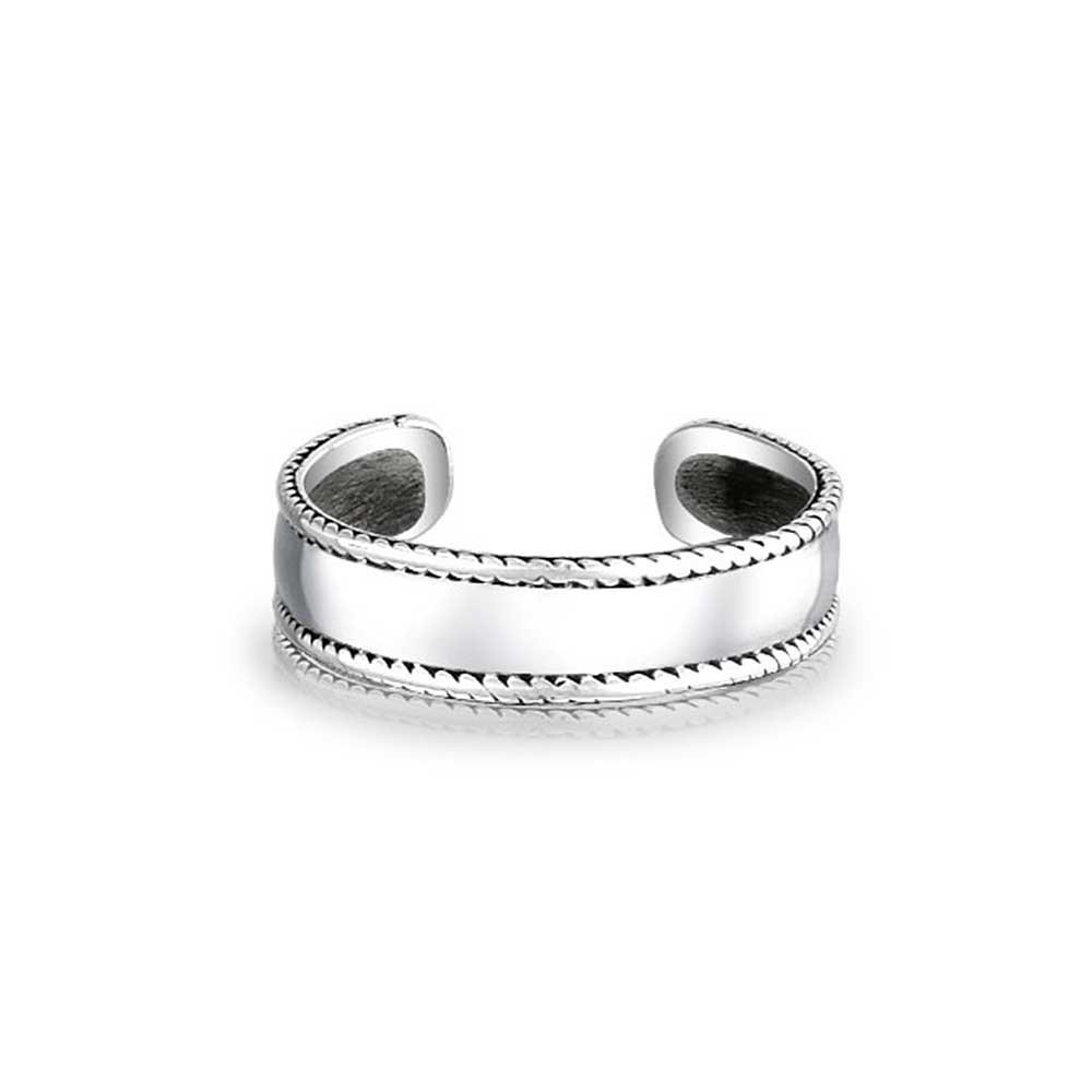 Sterling Silver Midi Ring Braided Bali Style Rope Toe Rings