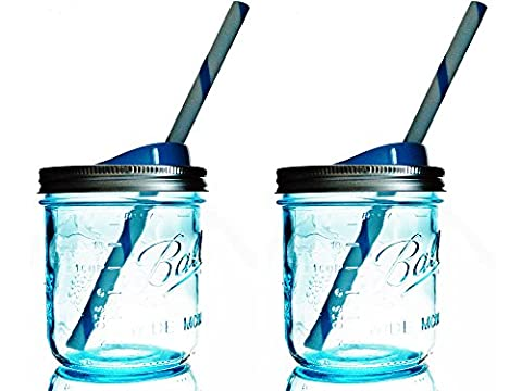 Mason Drinking Jar with Straw and Sip Lid 16oz Wide Mouth (2, Blue)