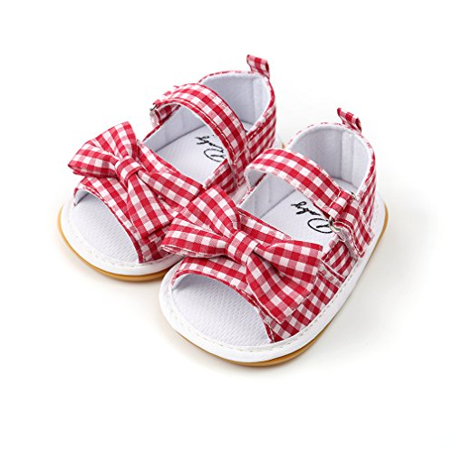 (Baby Boys Girls Sandals Stripe Bow Knot Rubber Sole Non-Slip Summer Toddler Shoes (9-12 Months Foot Length 4 1/2inch 4M US, Red Plaid))