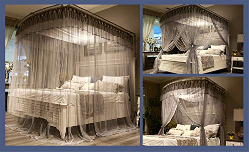 Mosquito net Indoor Mosquito net Outdoor Mosquito net Travel Mosquito net Anti-Mosquito Insect net Palace Mosquito net Bedroom Decoration, Gray, L (87-210Adjustment) W150cm by RFVBNM Mosquito net (Image #6)