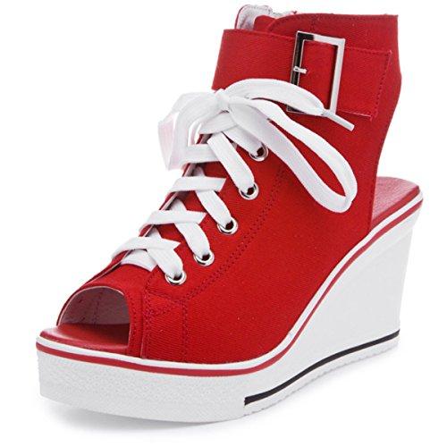 d'été Sandales Noir Blanc Fanessy Rouge éclair Ouvert Femme Fermeture en Boot Chaussure Nouvelle Talon Casual Baskets Style Mode New Compensé Lacets Rose Toile r5HtnHR