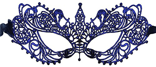 Luxury Mask Women's Stunning All Navy Lace Masquerade Mask Ana ()