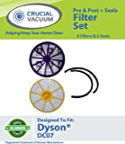 Dyson DC07 Pre and Post Filter Set Plus Seals Designed To Fit Dyson DC07 Upright Vacuums; Compare Part # 901420-02, 904979-02; Designed and Engineered by Crucial Vacuum, Appliances for Home