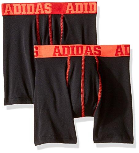adidas Boys Sport Performance Climalite Boxer Brief Underwear (2 Pack), Black/Power Red/Black/Red, - Boxer Briefs Boys 2pk Underwear