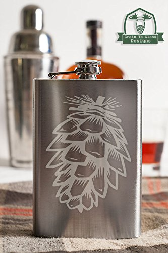 Pinecone 8 Ounce Stainless Steel Flask (Glassware Etched With Pine Cones compare prices)