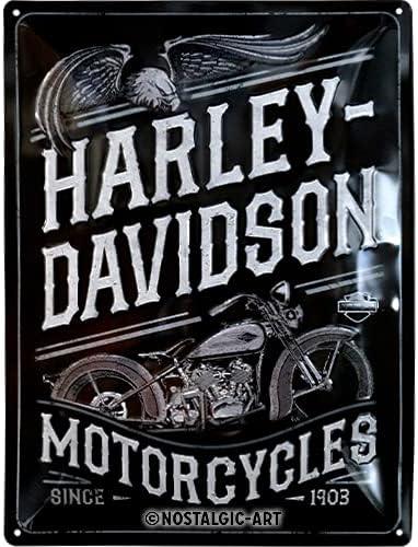 Dise/ño vintage Idea de regalo para los fans de las motos 30 x 40 cm Metal Eagle Nostalgic-Art Cartel de chapa retro Harley-Davidson met/álico