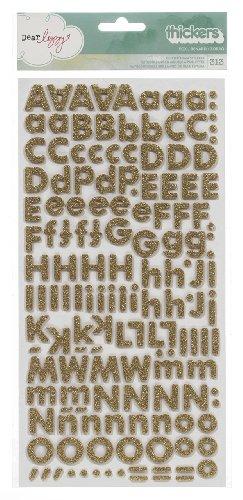 (Dear Lizzy 5th & Frolic Thickers Alphabet Stickers-Glitter Foam Fox/Gold)