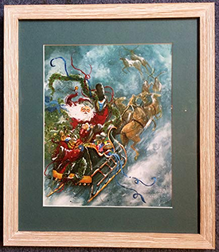 His Sled - Framed Santa print, with his sled and reindeer
