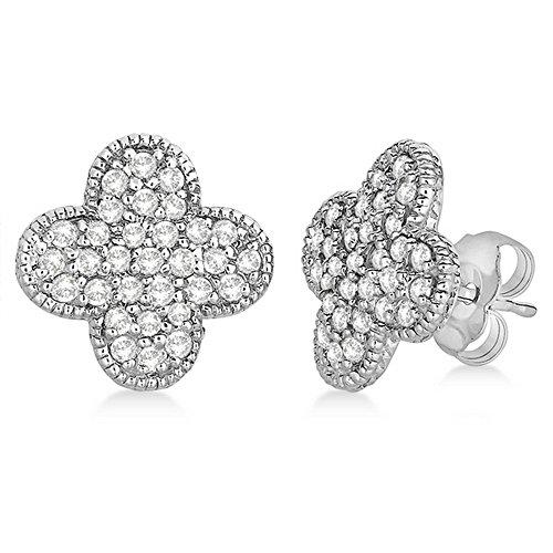 Four Leaf Clover Diamond Stud Earrings 14k White Gold (0.75ct) (Stud Antique Diamond Earrings)