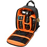 "Camera Backpack DSLR SLR Camera Bag Camera Case Waterproof for Canon, Nikon, Sony, Olympus, Samsung, Panasonic, Pentax Cameras (Orange) 13.3"" X 9.8 ""X 5.1"""