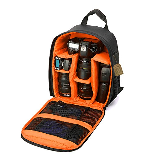 "Camera Backpack DSLR SLR Camera Bag Camera Case Waterproof for Canon, Nikon, Sony, Olympus, Samsung, Panasonic, Pentax Cameras (Orange) 13.3″ X 9.8 ""X 5.1"""