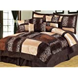 5 Pieces Brown Micro Fur Patchwork Leopard Comforter Set Luxury Animal Print Bed-in-a-bag Set Twin Size Bedding