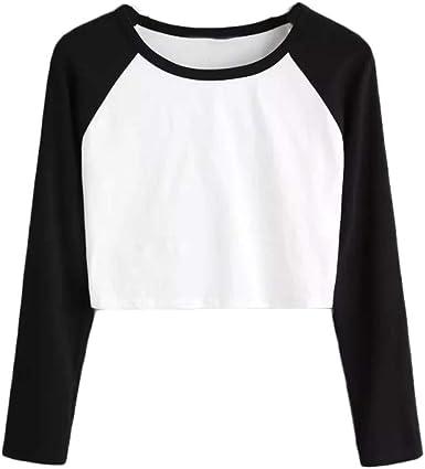 Camisetas Mujer, Sudaderas Sin Capucha para Mujer Color SóLido Elegancia Sudadera Delgada De Moda Camiseta De Manga Larga con Costuras Bicolores Nuevo Fitness Pullover: Amazon.es: Ropa y accesorios