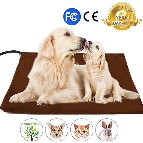 Pet Heating Pad, Upgraded Dim 20IN Electric Heating Pad for Dogs &Cats Warming Dog Beds Pet Mat with Resistant Cord Replace Fleece Cover (20x20IN Coffee) by DOPA