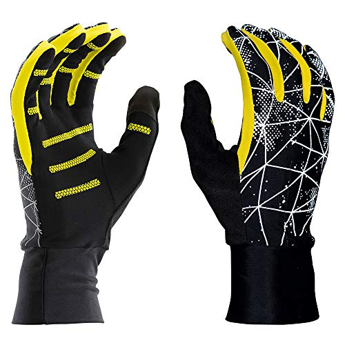"""Nathan Reflective Gloves for Running. Warm Lightweight Stretch Material. with Pocket and TruTouch for Texting. Yellow/Black/Blue. Men and Women. (Galaxy Black/Yellow, L/XL 9.5""""-10"""")"""