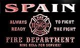 qy2496-r SPAIN Fire Dept Fireman Gift Home Decor Neon Light Sign