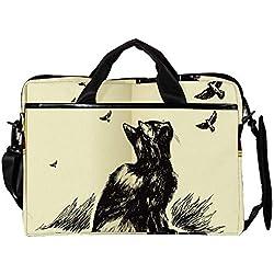 MAPOLO portafolios Ligero para portátil de 15 Pulgadas con diseño de Gato Mirando a los pájaros, Funda para computadora, Tablet, Bolso de Mano, Bolsa de Transporte para Hombres y Mujeres
