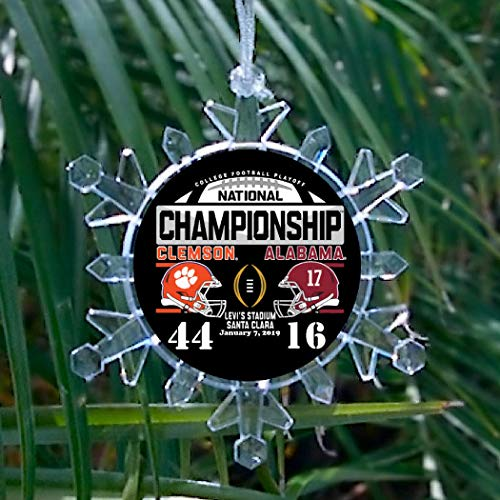 Clemson Tigers 2019 Football Champs Champions Snowflake blinking lights Holiday Christmas Tree Ornament