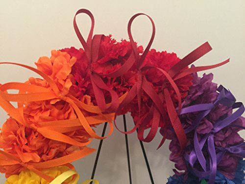 COLLEGE PRIDE - SPIRIT - LGBTQ - STUDENT ORGANIZATIONS - UNIVERSITY DIVERSITY GROUPS - GAY PRIDE - DORM - COLLECTOR WREATH - RAINBOW CARNATIONS, ZINNIAS, AND DAISIES - RAINBOW FLAG by Peters Partners Design (Image #3)