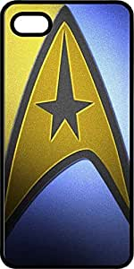 Blue & Gold Star Trek Clothing Badge Black Plastic Case for Apple iPhone 4 or iPhone 4s
