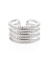 Pure316 - Women's Quadruple Layer Pave Set CZ Ring in 316L Stainless Steel - Size 8 - JKR-202W