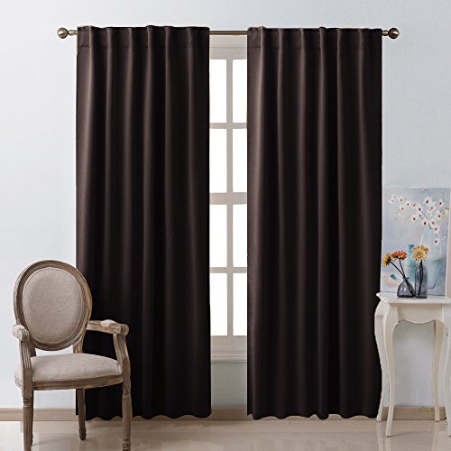 Door Panel Drapes (NICETOWN Window Curtains Blackout Drapery Panels - (Toffee Brown Color) 52 Inch x 95 Inch, 2 Panels, Blackout Drapes/Curtains for Sliding Glass Door)