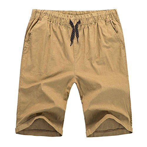 Hat and Beyond to Mens Flat Front Summer Shorts Casual Twill Classic Fit (Medium, 26 Tan)