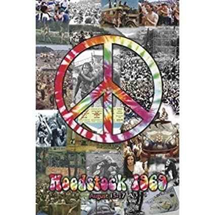 Woodstock 1969 Peace Collage 36x24 Music Art Print Poster Photographic From Concert
