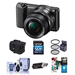 Sony Alpha A5100 Mirrorless Digital Camera with 16-50mm E-Mount Lens Black - Bundle With Camera Case, 16GB Class 10 SDHC Card, Cleaning Kit, 40.5mm Filter Kit, USB Card Reader, Software Package