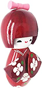 """COMOK Floral Red Japanese Kimono Sweet Smiling Girl Wooden Kokeshi Doll Toy for House & Office Decoration Handicraft Ornaments, 2.55"""" x 5.7"""""""