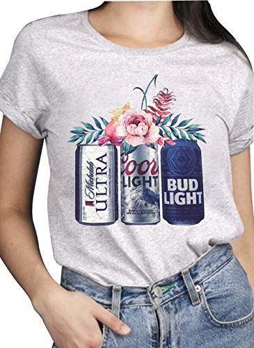 Women Vintage T Shirts Beer and Flower Graphic Summer Short Sleeve Tee Tops for Drinking Lovers Grey