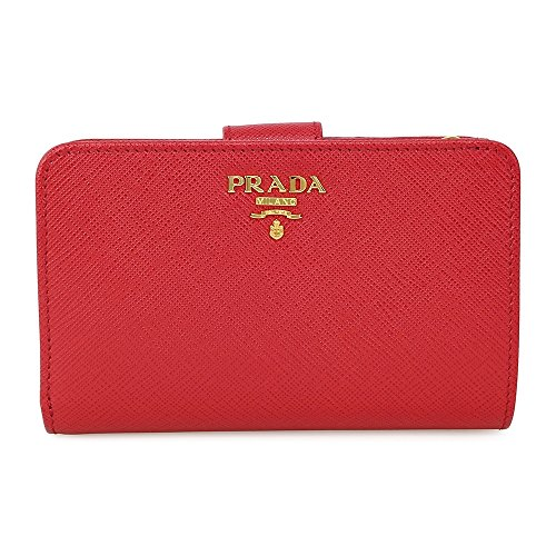 Prada Bi-fold Zip Saffiano Leather Wallet - Fuoco