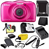 Nikon COOLPIX S33 Digital Camera (Pink) (International Model No Warranty) + EN-EL19 Battery + External Charger + 16GB SDHC Card + Floating Strap + Card Reader + Card Wallet Saver Bundle