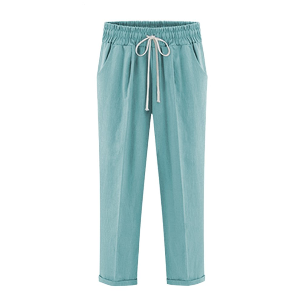XinDao Women's Elastic Waist Casual Relaxed Fit Capris Pants Cotton Linen Cropped Pants Drawstring Agate Green US XL/Asia 5XL