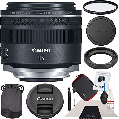 Canon 35mm Lens Adapter - Canon RF 35mm F1.8 is Macro STM for EOS R Full-Frame Mirrorless Cameras 2973C002 with 52mm Multicoated UV Filter and Deco Gear Photography Cleaning Kit Case Pro Bundle