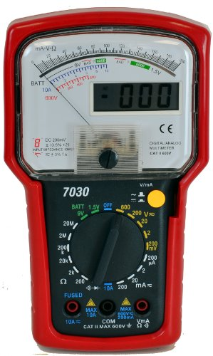 Tekpower TP7030 Hybrid Dual Display 8-Function 20-Range Analog & Digital Multimeter with Battery Tester, High Accuracy ,Strong Rubber Case Protection