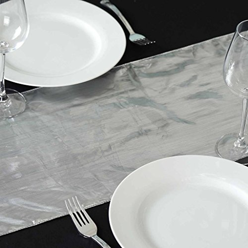 Lame Table Runner - BalsaCircle 5 pcs 13 x 108-Inch Silver Metallic Shiny Tissue Lame Table Top Runners - Wedding Party Reception Linens Decorations